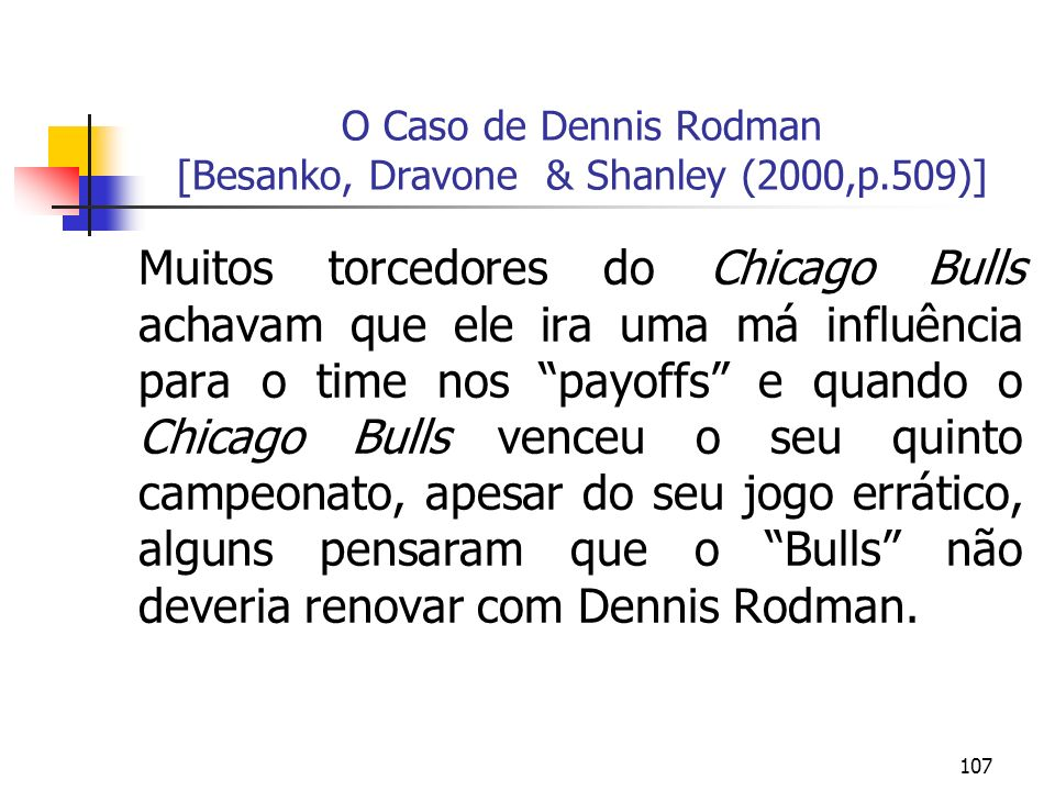 O Caso de Dennis Rodman [Besanko, Dravone & Shanley (2000,p.509)]